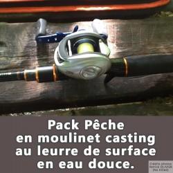 Pack pêche au moulinet casting au leurre de surface en eau douce